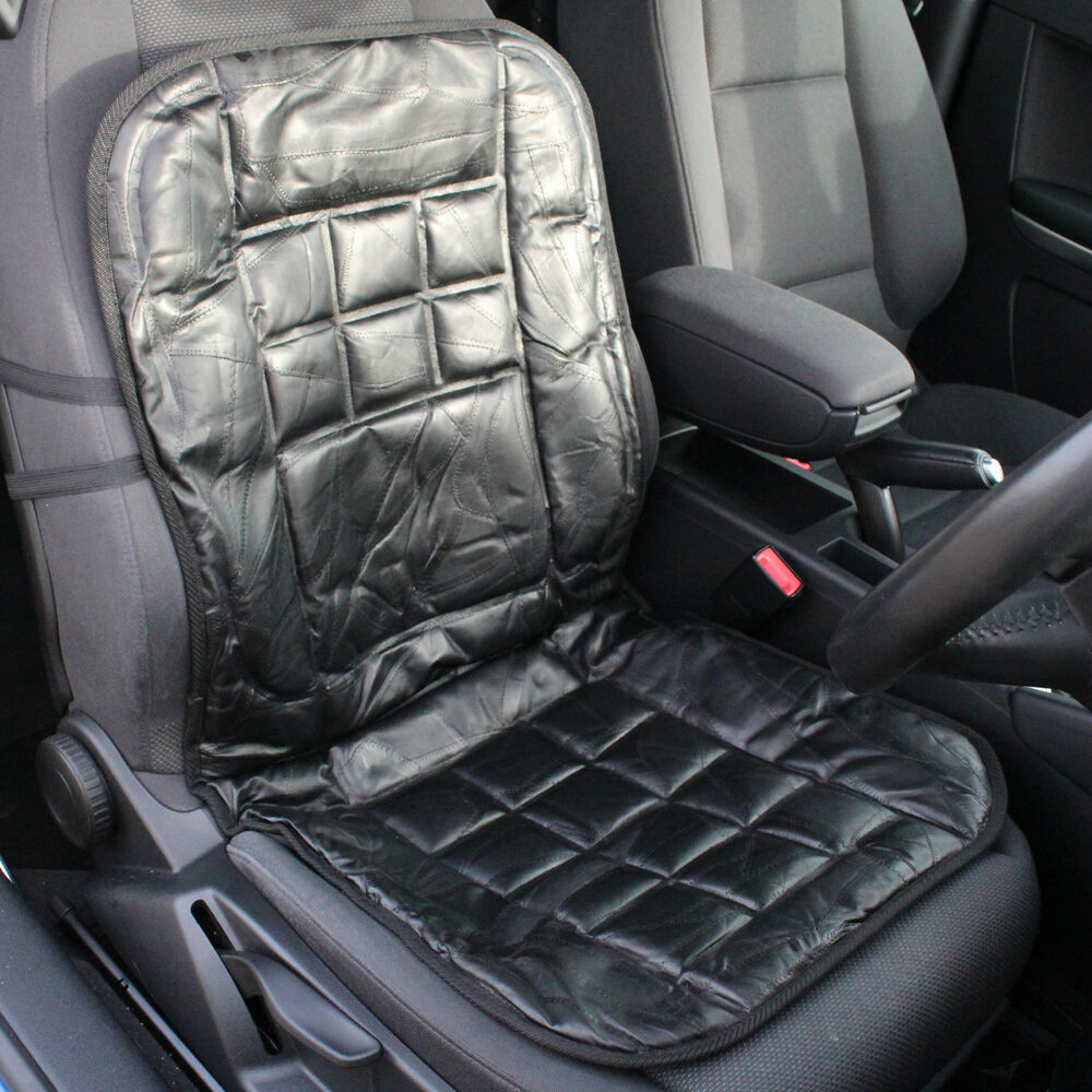LEATHER CAR FRONT SEAT CUSHION/PROTECTOR ORTHOPAEDIC BACK