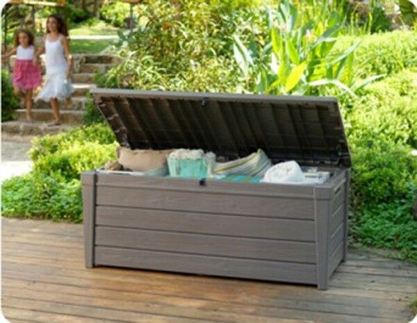 garten auflage truhe kiste box holzoptik kunststoff gartenkiste terrasse kissen ebay. Black Bedroom Furniture Sets. Home Design Ideas