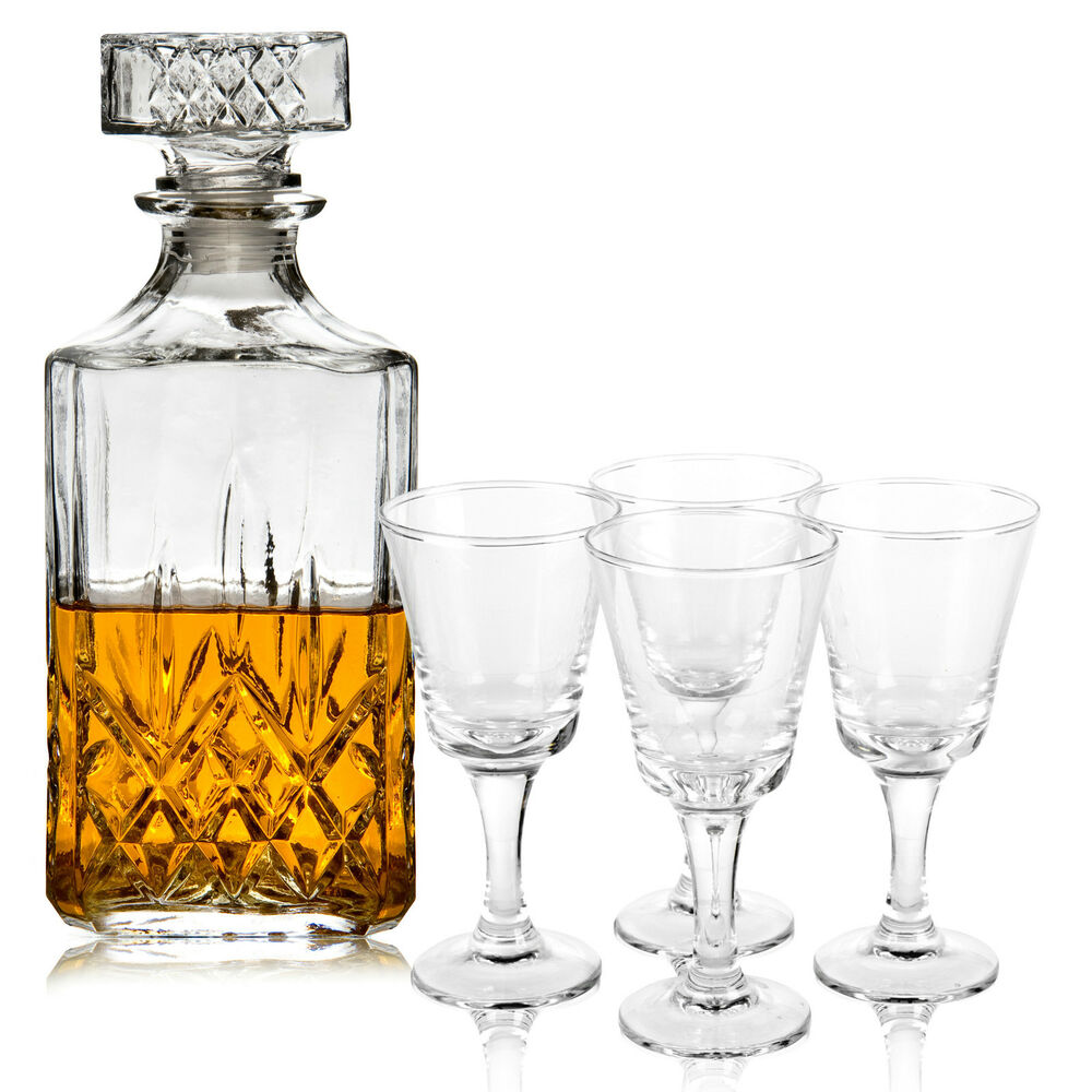 glass decanter with 4x 80ml liqueur glasses square bottle drinking xmas gift set ebay. Black Bedroom Furniture Sets. Home Design Ideas
