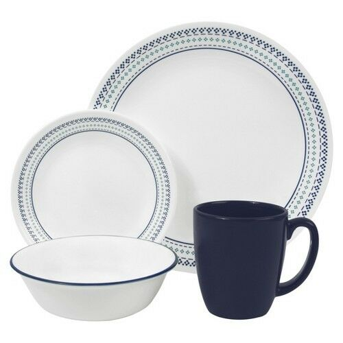 corelle livingware stitch 16 piece dinnerware set blue ebay