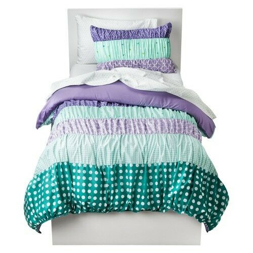 circo dots stripes ruched bed set purple ebay. Black Bedroom Furniture Sets. Home Design Ideas