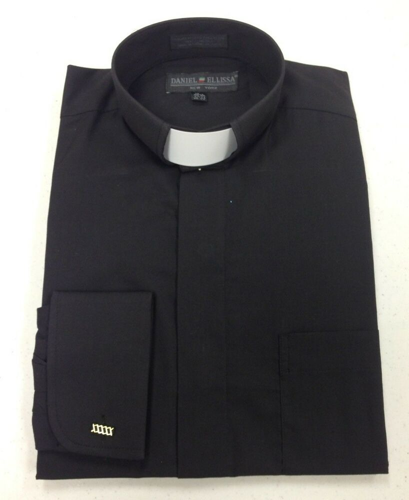 Men 39 S Preacher Tab Collar Clergy Shirt Black 19 1 2 36 37