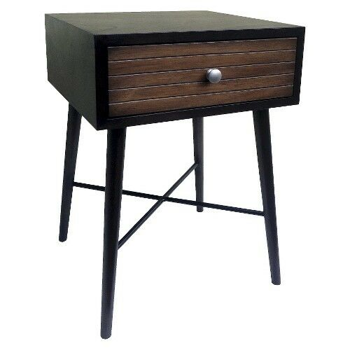 Threshold accent table with ribbed drawer espresso ebay for Occasional table with drawers