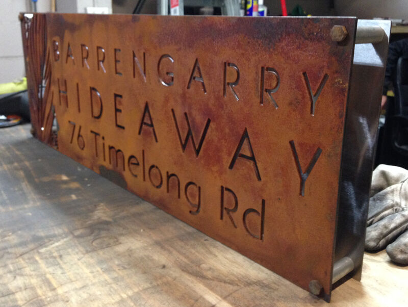 Corten steel led house sign lightbox rustic custom made laser cut rusted steel ebay - Custom signs for home decor concept ...
