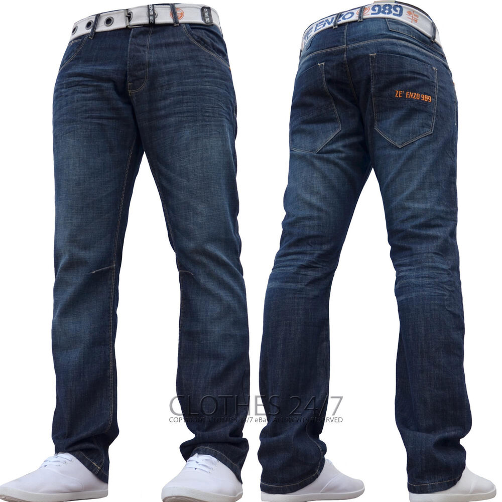 new mens enzo denim jeans free belt waist size 30 32 34 36 38 40 42 44 46 48 ebay. Black Bedroom Furniture Sets. Home Design Ideas