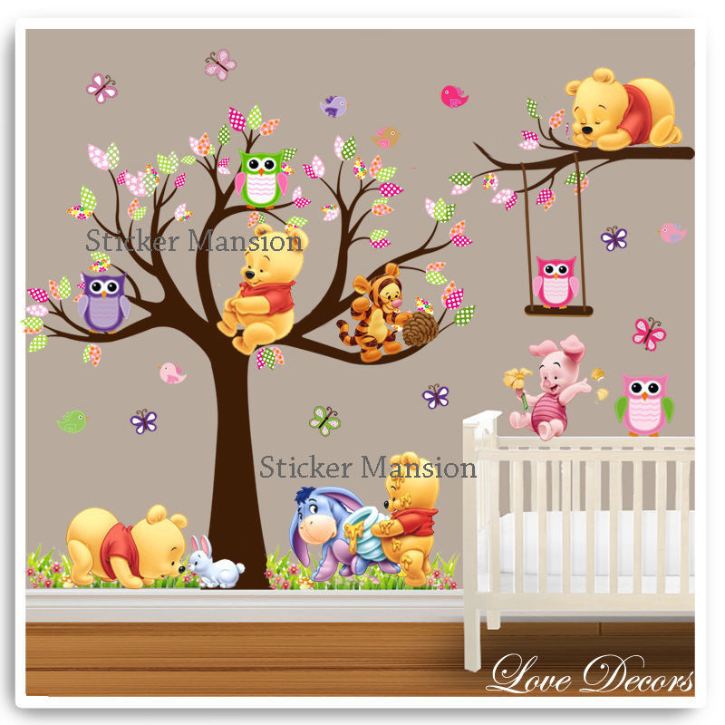 Winnie the pooh wall stickers owl animal nursery baby kids for Disney wall stencils for painting kids rooms