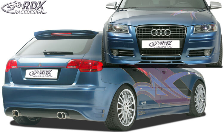 rdx bodykit audi a3 8pa sportback spoiler set front heck ansatz seitenschweller ebay. Black Bedroom Furniture Sets. Home Design Ideas