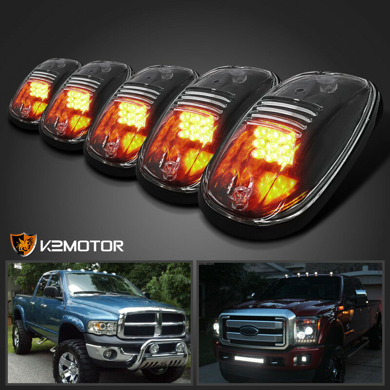 5x Roof Top Cab Clear Lights 9 Amber Led Marker Lamps W