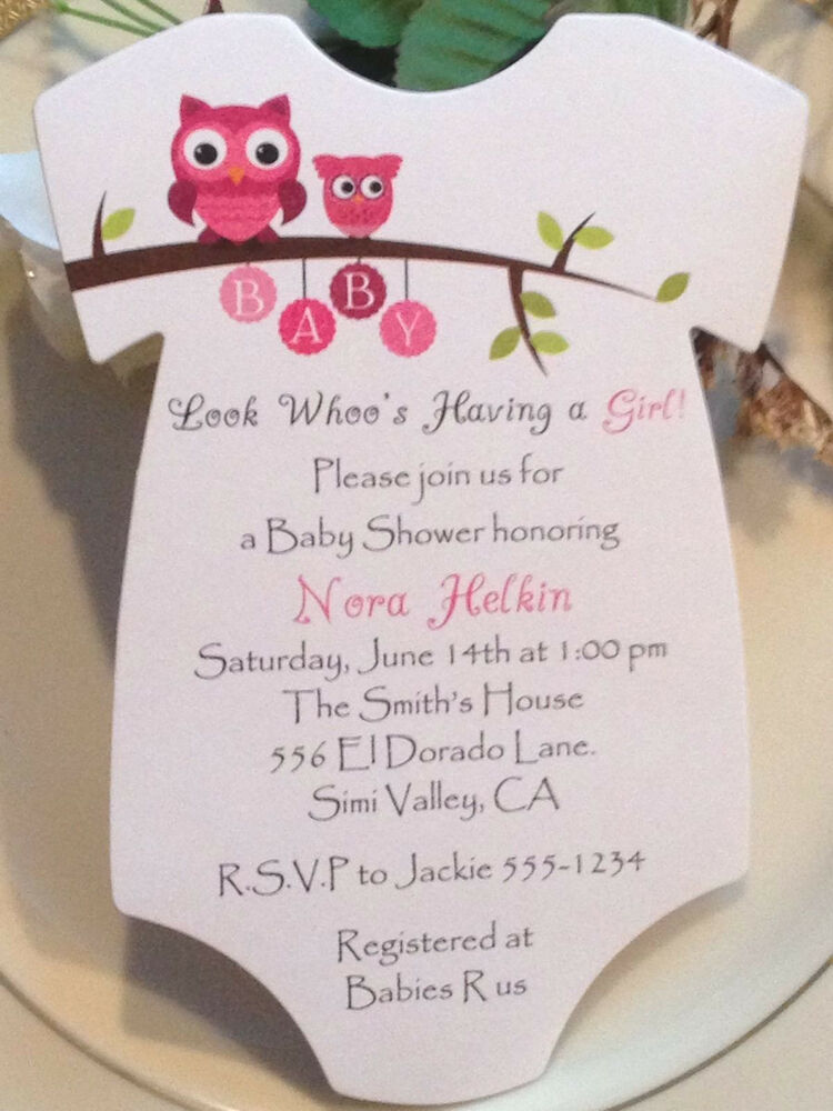 owl onesie baby shower invitation for boy or girl ebay