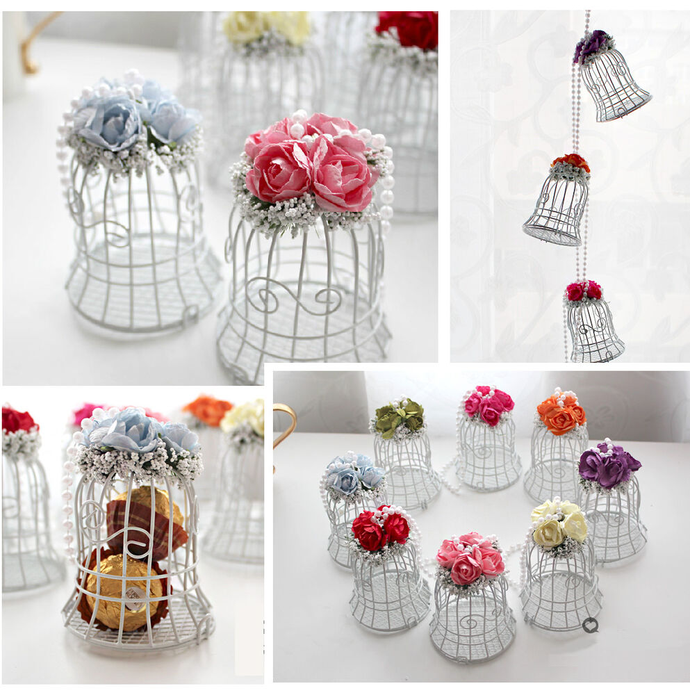 Luxe White Bird Cage Wedding Gift Box Favours Metal Birdcage Candy ...