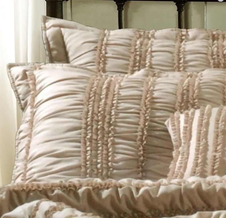 Tiana Taupe Ruched 3pc Full Queen Quilt Set Chic