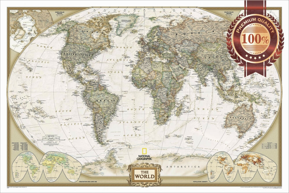 NEW LARGE DETAILED POLITICAL MAP OF THE WORLD HOME WALL ART PRINT PREMIUM POS