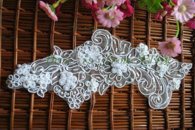 One pc embroidery wedding applique beaded lace bride shoes decoration ...
