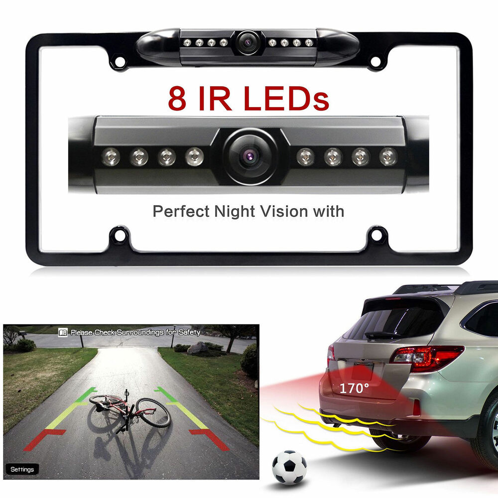 car rear view backup camera 8 ir night vision us license plate frame cmos new ebay. Black Bedroom Furniture Sets. Home Design Ideas