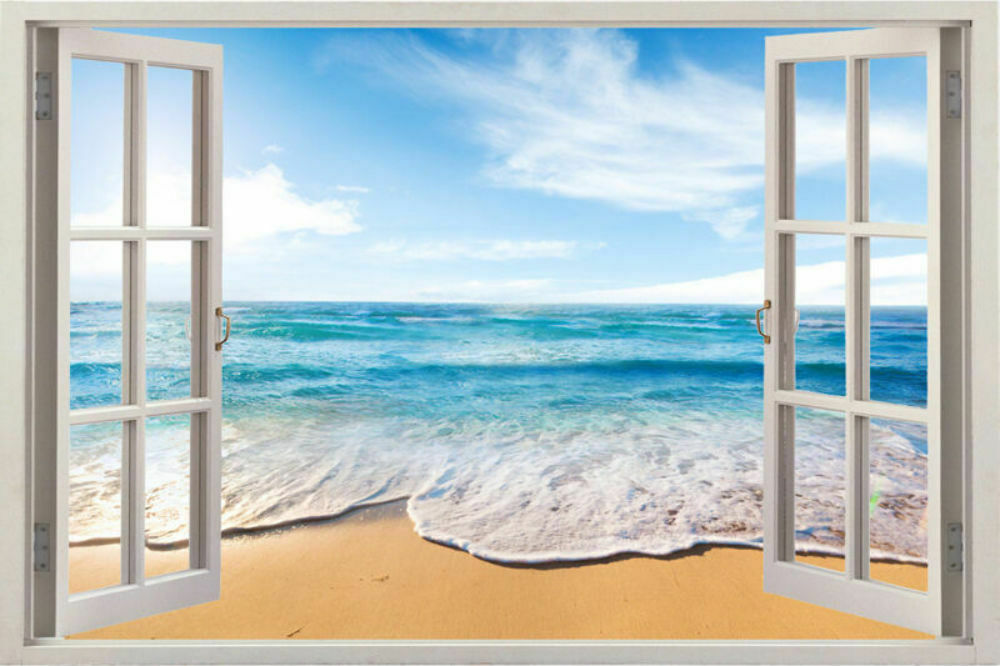 Home decor art vinyl 3d window new beach mural wall decals for Beach wall mural sticker
