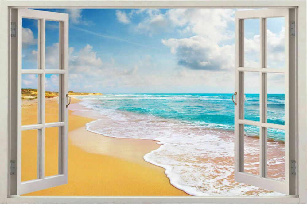 Wall beach decal decor art vinyl window removable home for Beach wall mural sticker