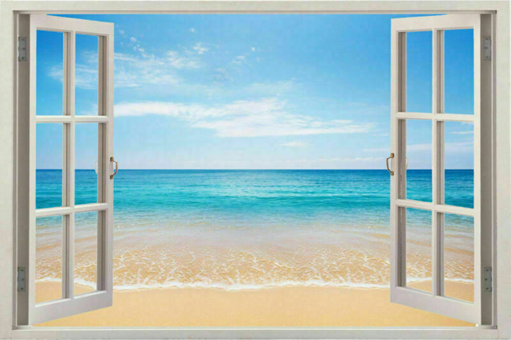 New 3d window scape instant graphic mural view beach at for Beach view wall mural