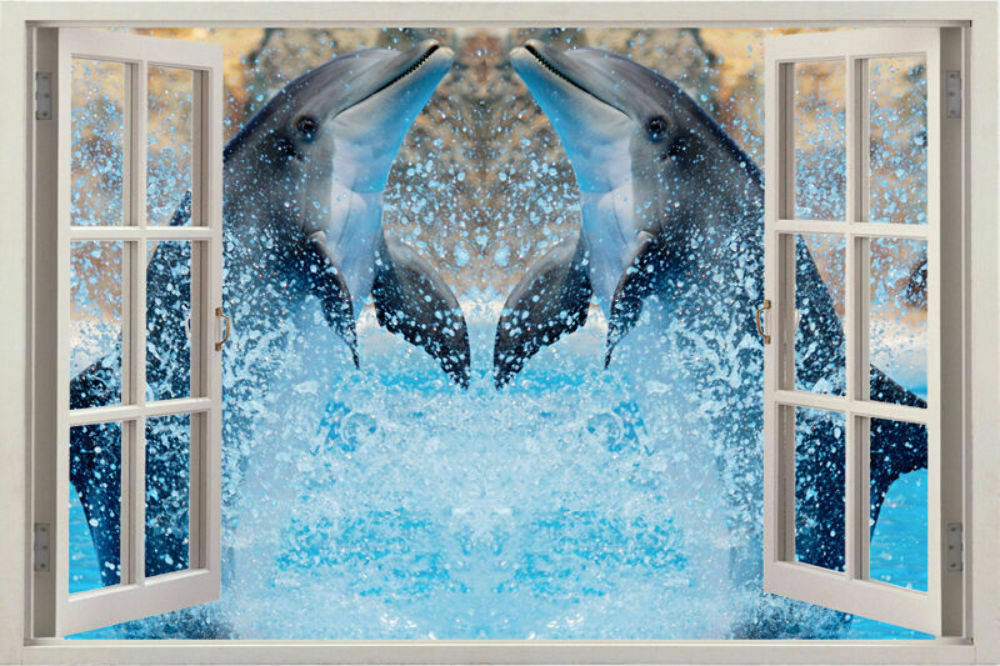 3d wild dolphins views sticker removable outside window for Dolphin wall mural