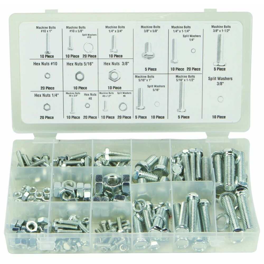 240 Pc Piece Sae Standard Size Nut And Bolt Screw