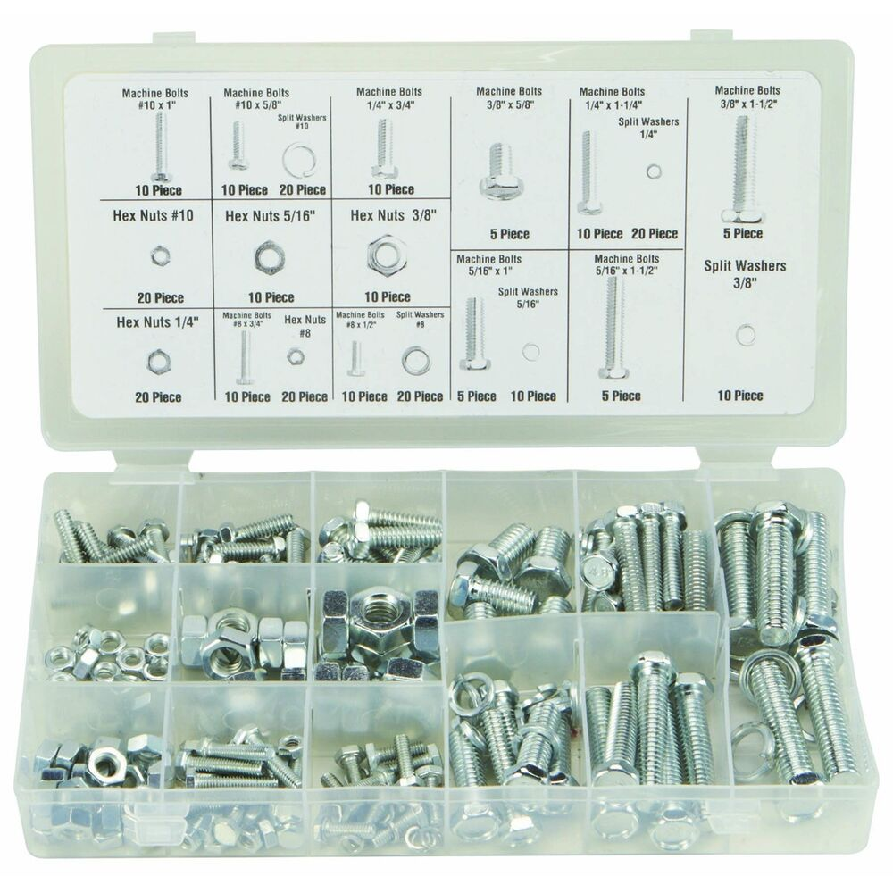 240 pc piece sae standard size nut and bolt screw assortment hardware