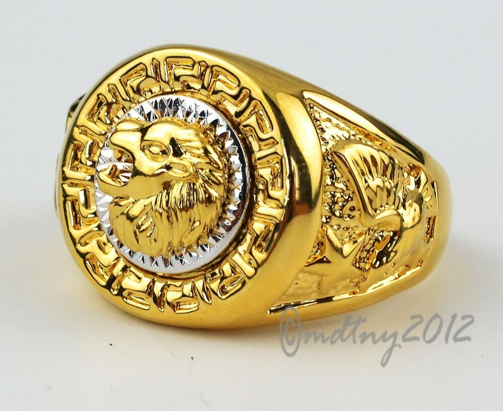 Gold Eagle Head Ring