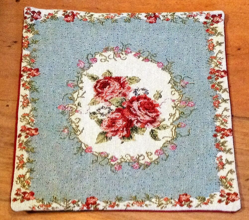 Throw Pillows With Matching Rug : Blue & Burgundy Country Rose Tapestry Pillow Cushion Cover Matching Throw Listed eBay