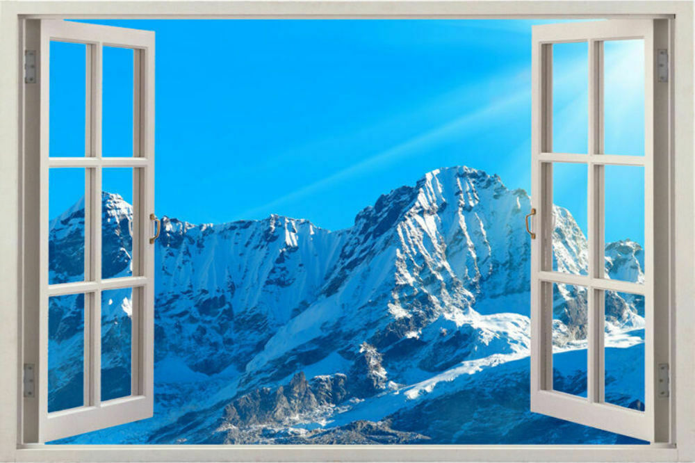 Huge 3d Window Sunset Snow Over Lake View Wall Stickers