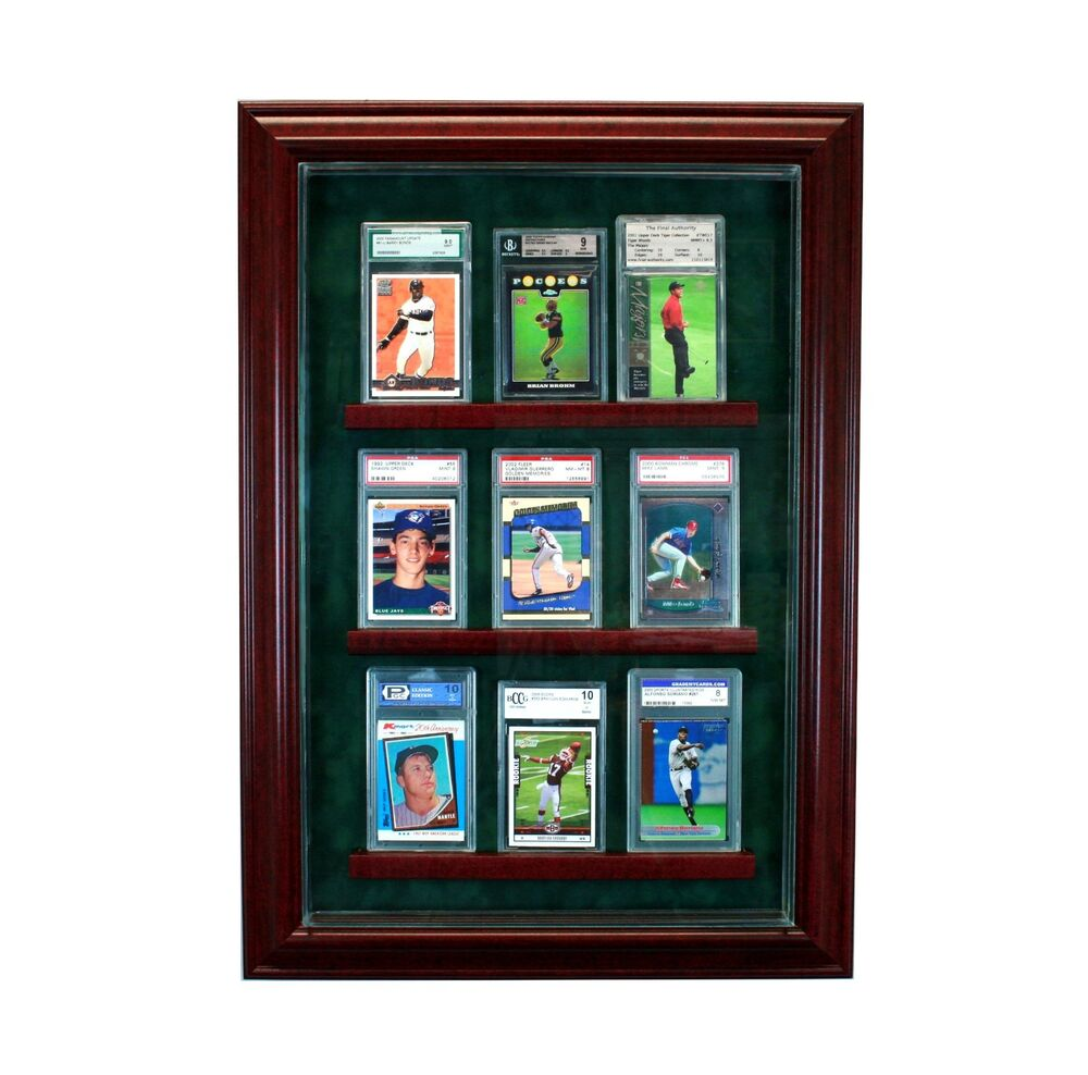 9 Graded Baseball Card Cabinet Style Display Case Hinged