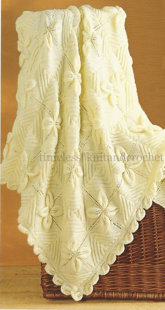 Free Vintage Knitting Patterns For Baby Blankets : VINTAGE KNITTING PATTERN FOR BABY / BABIES LEAF PATTERN SHAWL / BLANKET / COV...