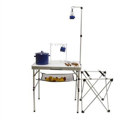 Camping Kitchen Center Outdoor Food Prep Table Folds