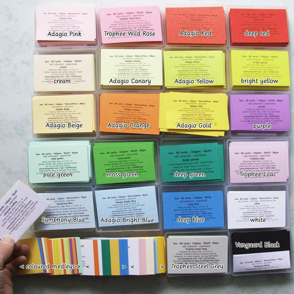 Printing On Index Cards: Box 80 Blank Coloured Revison Flash Cards, 1st Class Post