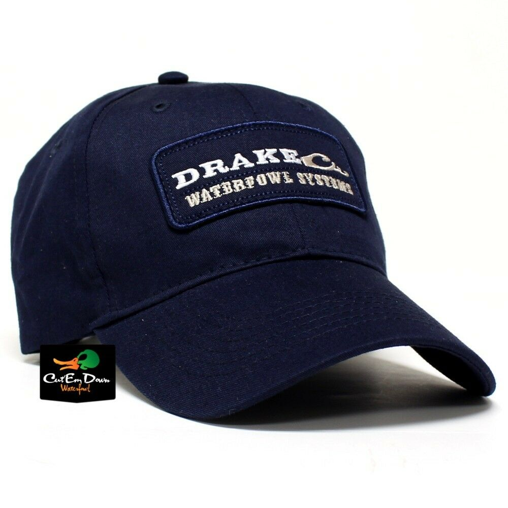 DRAKE WATERFOWL SYSTEMS BLOCK LABEL LOGO COTTON HAT BALL ...