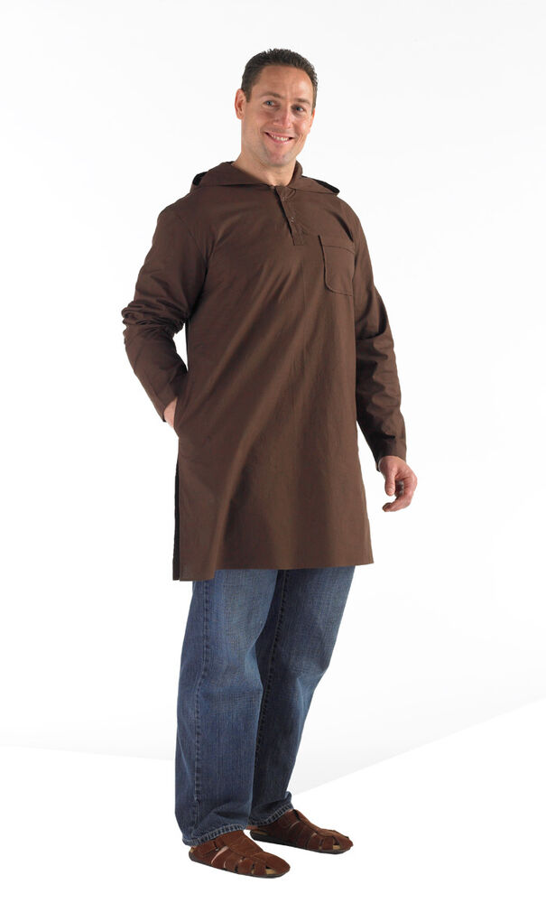 Hooded mens kurti brown long sleeve top pockets islamic for Best place to buy mens dress shirts