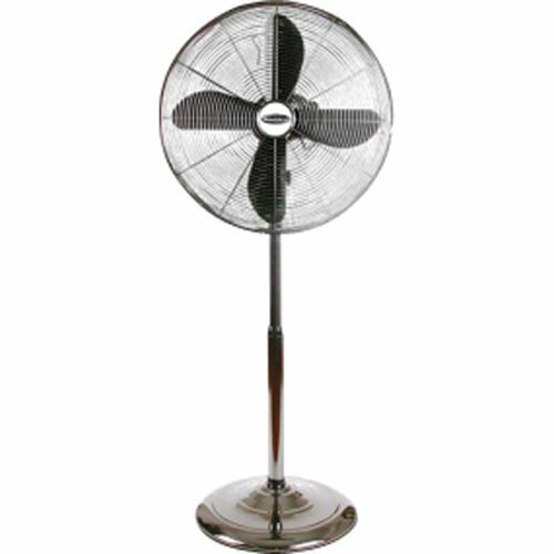 Portable Floor Fans : Oscillating portable chrome metal pedestal floor fan w