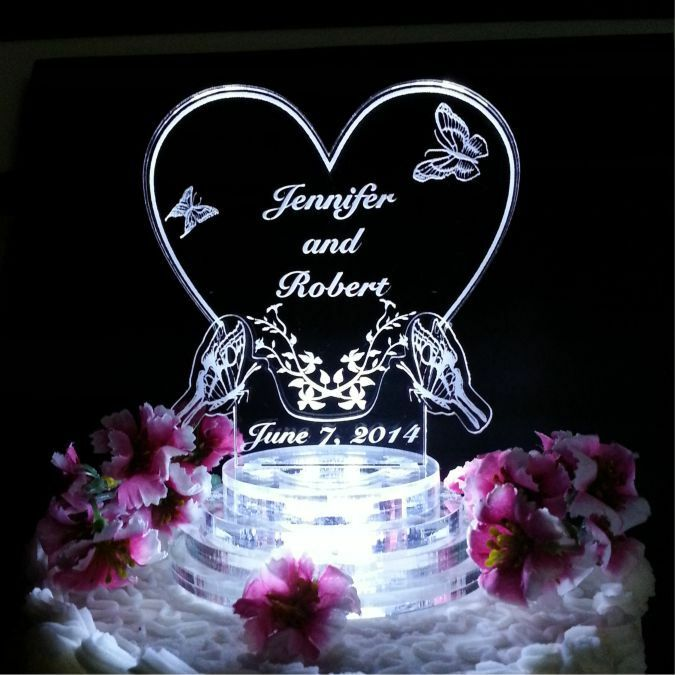 wedding cake toppers custom butterfly lighted wedding cake topper lit acrylic 8819