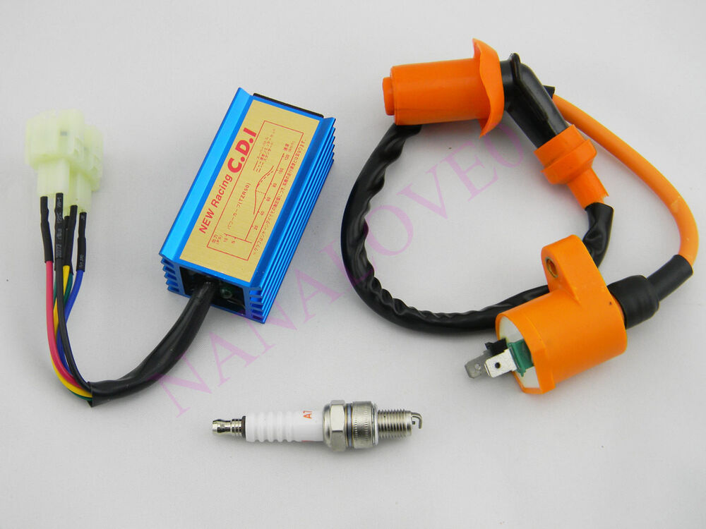 new racing ignition coil spark plug ac cdi fits gy6 50. Black Bedroom Furniture Sets. Home Design Ideas