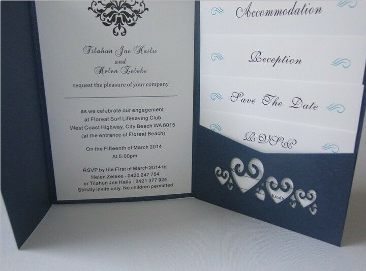 Royal Blue Wedding Invitation Cards: Personalized Royal Blue Wedding Invitations DIY Pocket