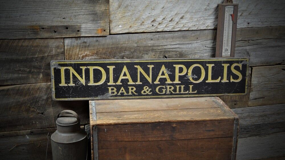 Custom city bar grill sign rustic hand made vintage