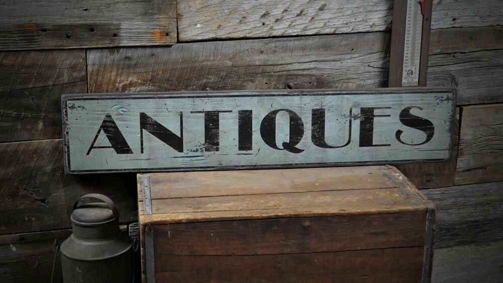 Distressed Antiques Sign - Rustic Hand Made Vintage Wooden ...