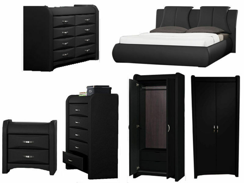 Azure black faux leather bedroom furniture collection for Furniture at the range