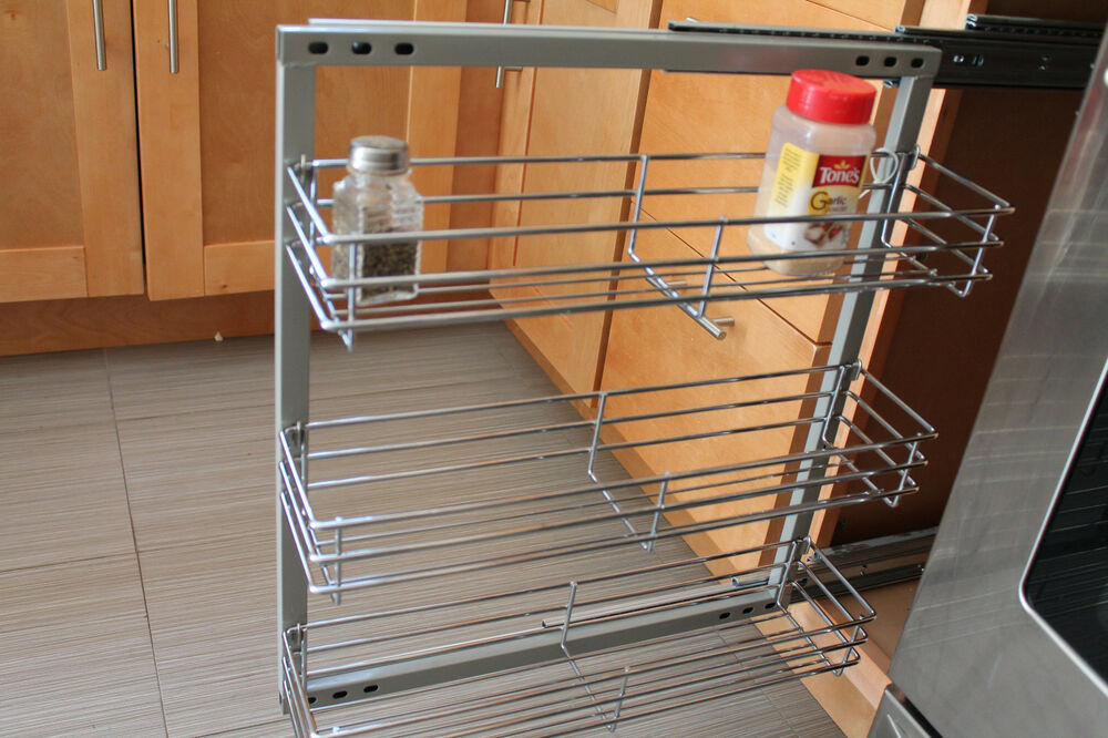 Spice Rack In Cabinet Pull Out 3 Shelves 5 5 Wide Wall