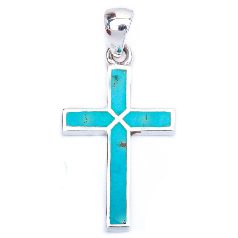 Blue Turquoise Cross 925 Sterling Silver Pendant 1 25
