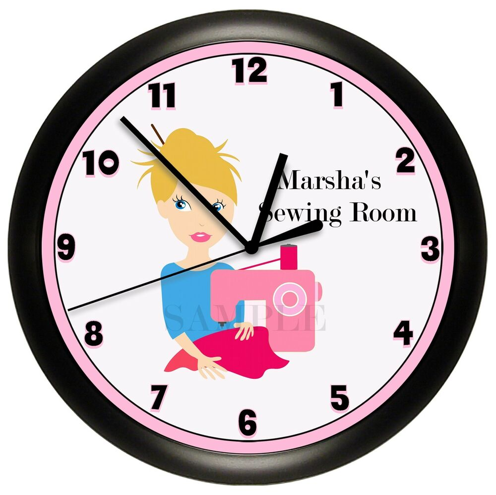 sewing room wall clock personalized gift wall seamstress. Black Bedroom Furniture Sets. Home Design Ideas