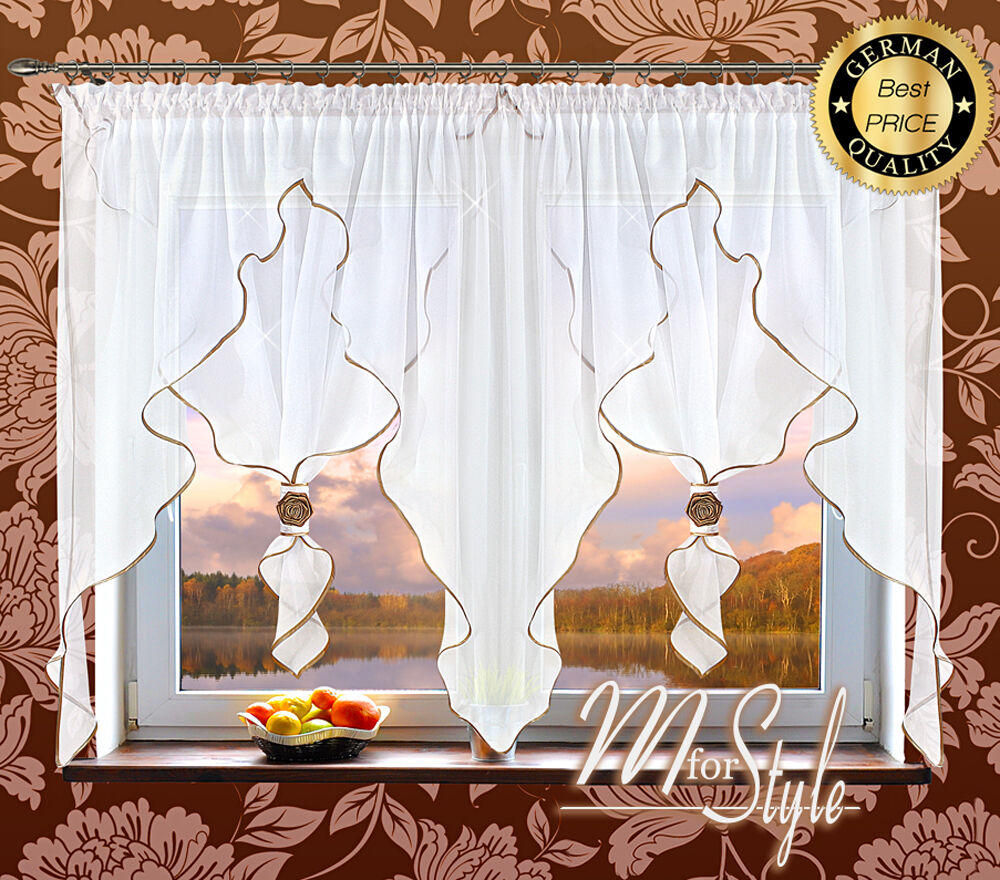 german voile curtain white gold ready made fits small medium window ebay. Black Bedroom Furniture Sets. Home Design Ideas