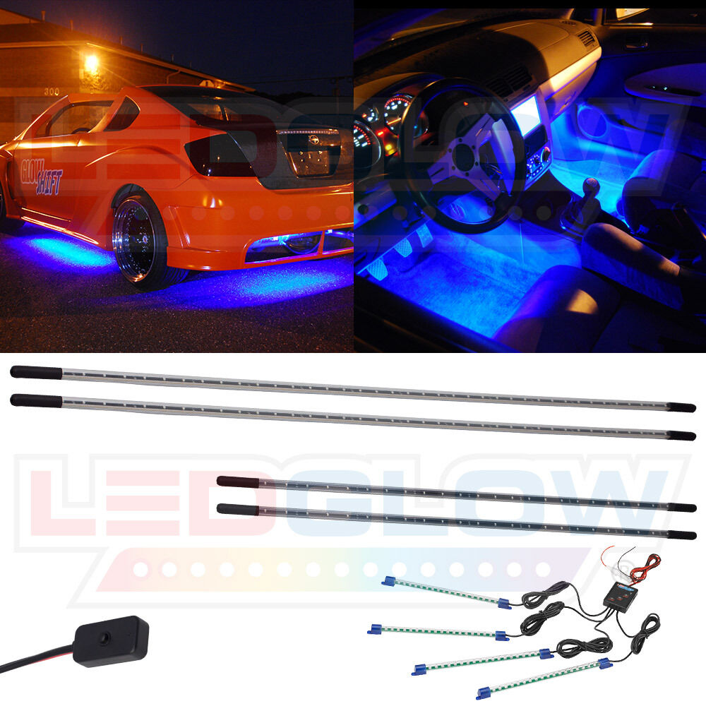 Ledglow 4pc Blue Underbody Underglow Car Led Neon Kit W 4pc Led Interior Lights Ebay