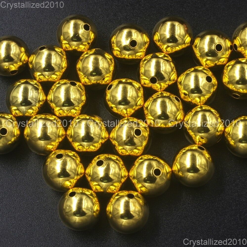 Gold Plated Silver Antique Beads: Wholesale Gold Plated Over Copper Round Beads 4mm 6mm 8mm