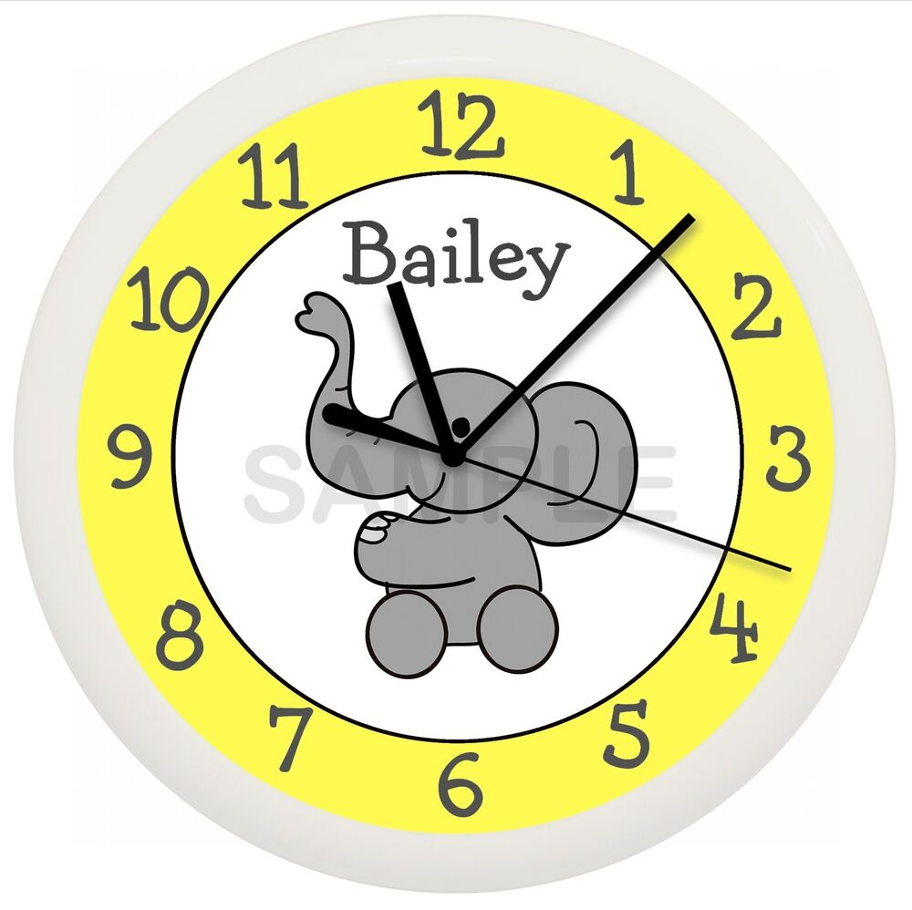 Details About Elephant Wall Clock Nursery Decor Yellow White Children S Bedroom Gift Shower