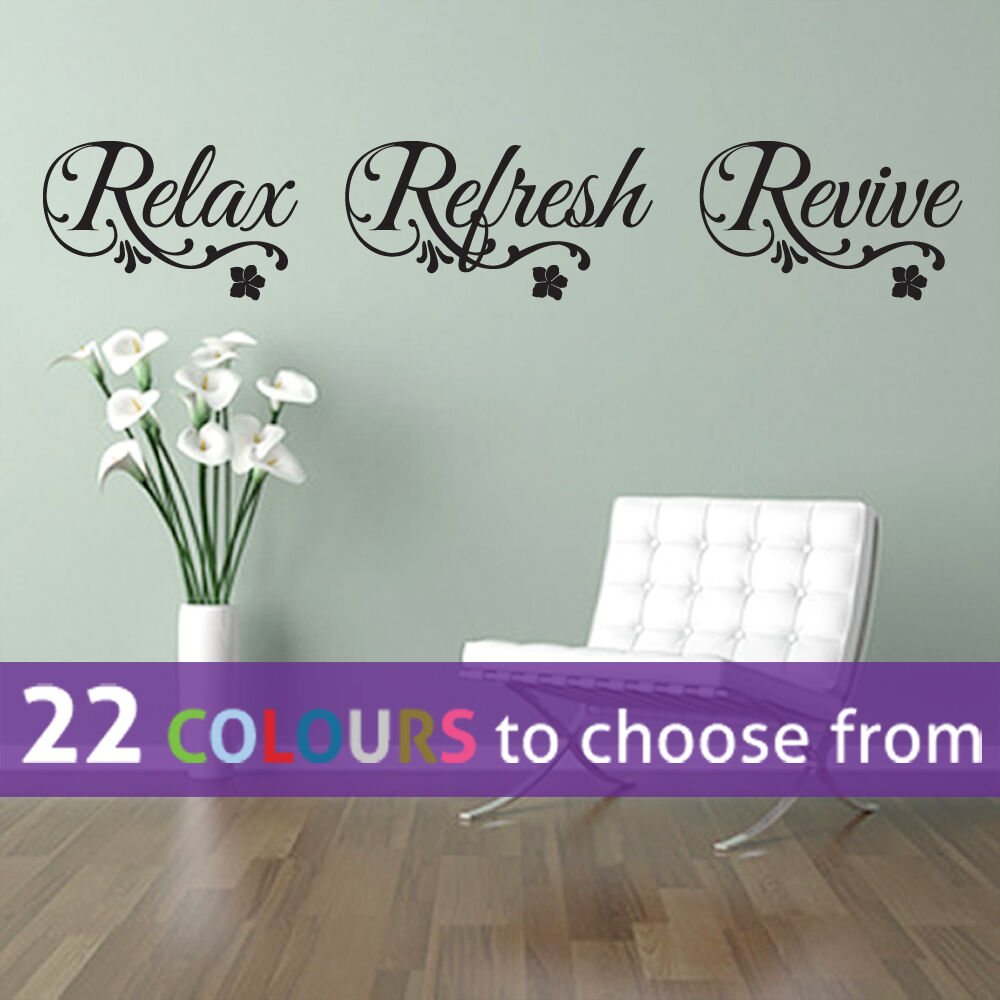 Relax refresh revive quote wall sticker art decal bedroom - Stickers salon design ...