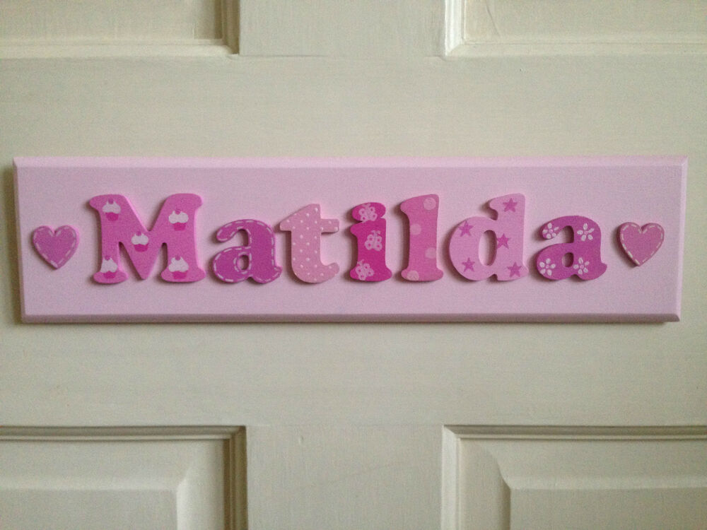 Bespoke childrens girls wooden name plaque personalised for Door name signs