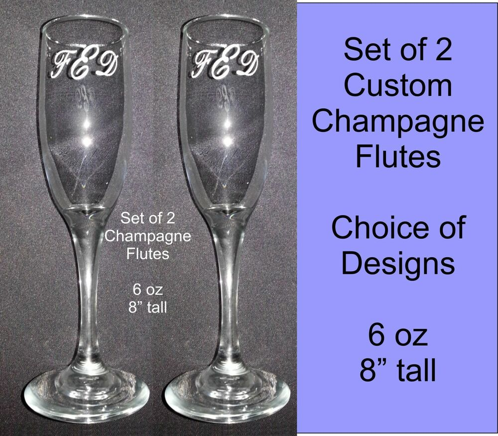 Personalized custom wedding champagne flute glasses set of 2 choice of desig - Flute a champagne design ...